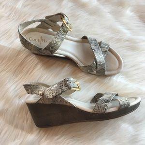 Cole Haan Nike sandal wedge snakeskin 11